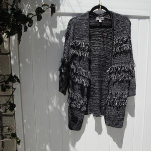 Knox Rose Cardigan Fringed Sweater M
